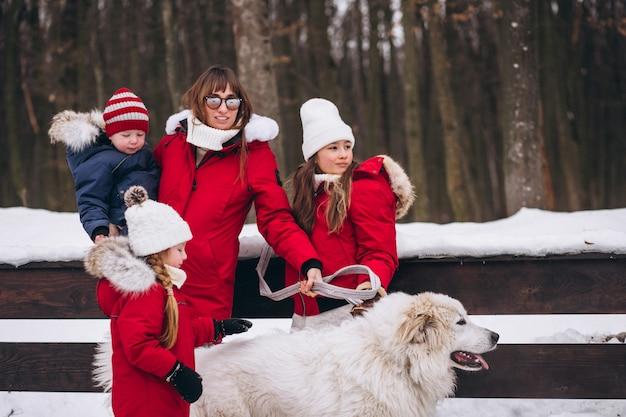 子供と冬の外で遊ぶ犬を持つ母 無料写真