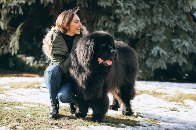 公園を歩いて彼女の犬を持つ女性 無料写真