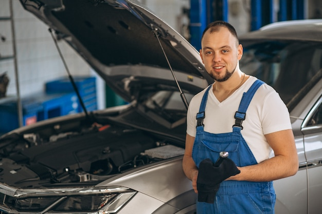 自動車整備士のチェックカー 無料写真