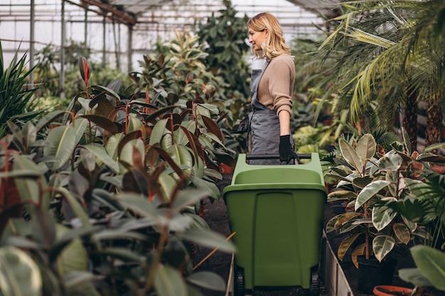 温室の植物の世話をしている女性 無料写真