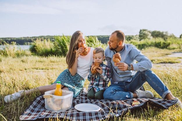 Молодая семья с маленьким сыном, пикник в парке Бесплатные Фотографии