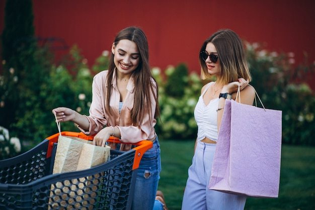 Две женщины делают покупки на рынке с корзиной Бесплатные Фотографии