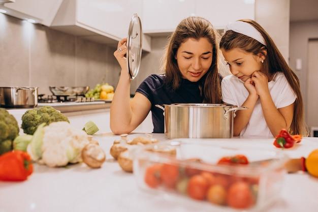 Мать с маленькой дочкой, вместе готовить на кухне Бесплатные Фотографии