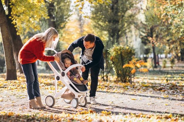 秋の公園を歩いてベビーカーで赤ちゃん娘と家族 無料写真