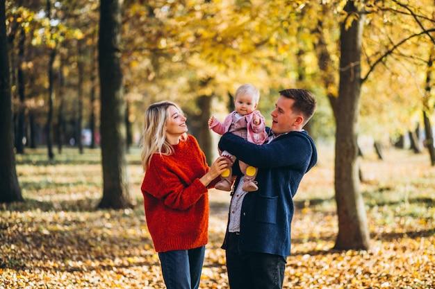 秋の公園を歩いて赤ちゃん娘と家族 無料写真