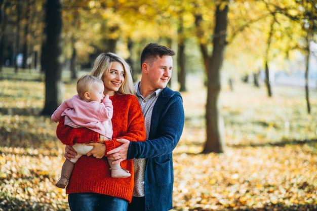 秋の公園で赤ちゃん娘と家族 無料写真