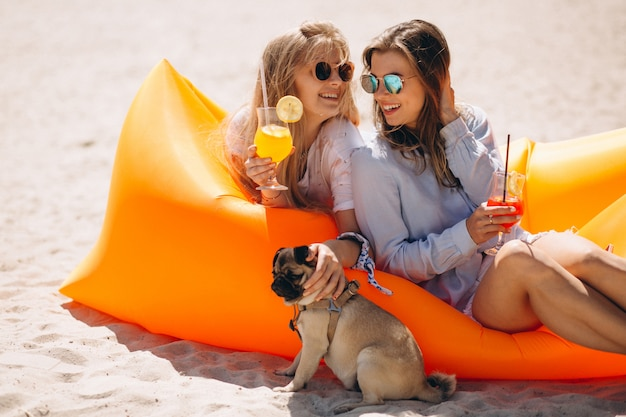 Две девушки с коктейлями и маленькой собакой, лежащей на матрасе у бассейна Бесплатные Фотографии