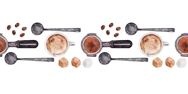 コーヒーの要素を持つ水彩境界線 Premium写真