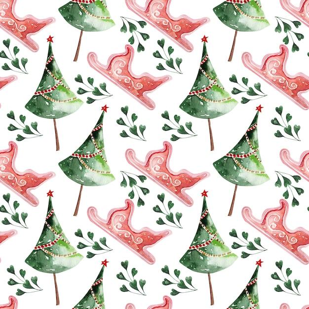 Акварельный рисунок рождественский праздник декора Premium Фотографии