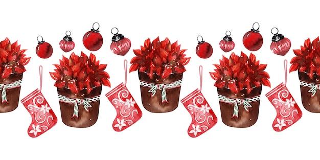水彩背景新年の休日の装飾 Premium写真