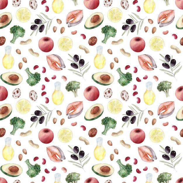 Акварель фоновое изображение продуктов здорового питания Premium Фотографии