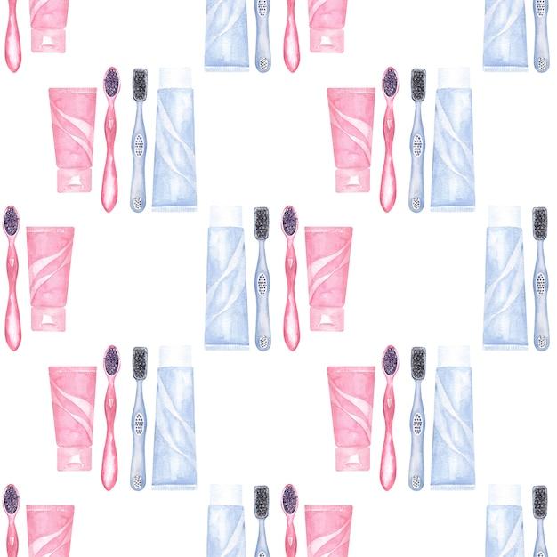 歯科をテーマにした水彩のシームレスなパターン。歯科医療の要素 Premium写真