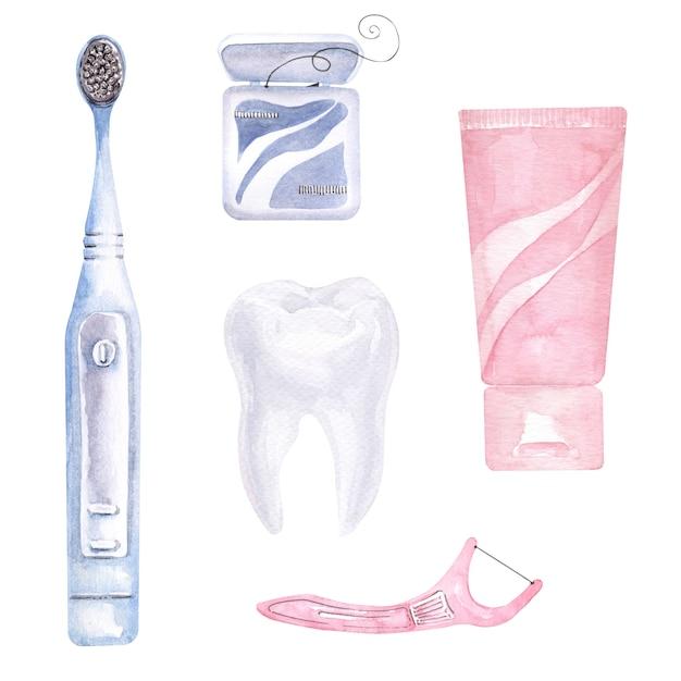 歯科をテーマにした水彩画の組成物。歯科医療の要素 Premium写真