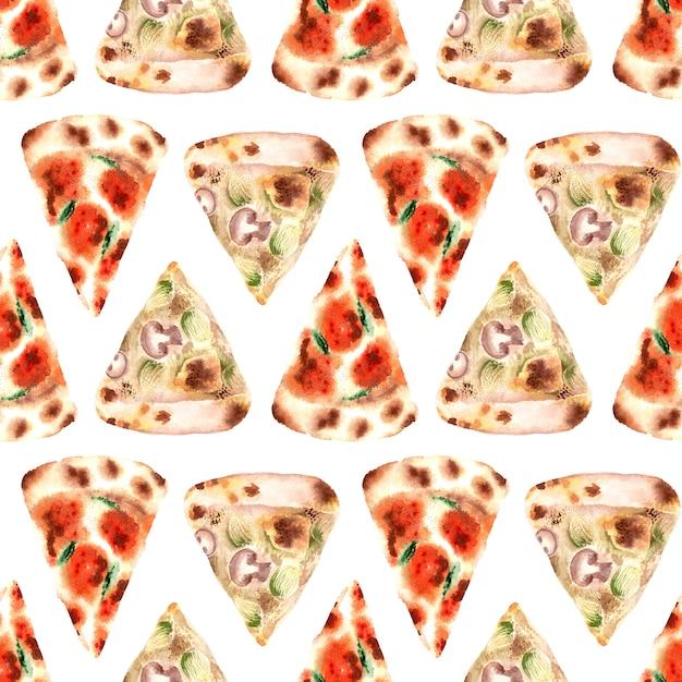新鮮なピザの種類と水彩のシームレスパターン Premium写真