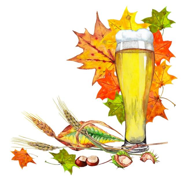 秋の紅葉と軽いビールの大きなガラス Premium写真