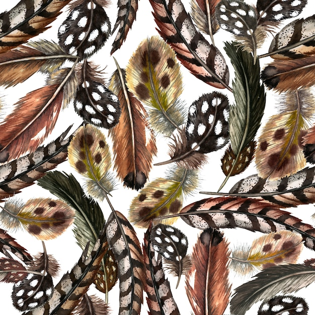 現実的な国内および野生の鳥の羽のシームレスなパターン。水彩イラスト。 Premium写真
