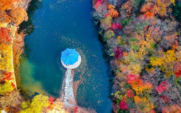 秋の内山山国立公園、韓国の美しい空撮。 Premium写真