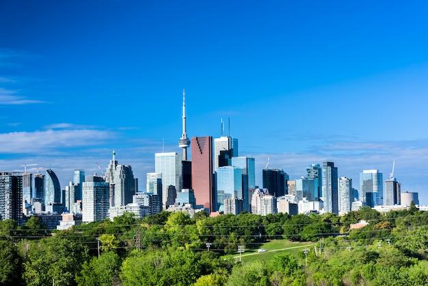 Вид на город торонто от ривердейл-авеню в летнее время. онтарио, канада Premium Фотографии