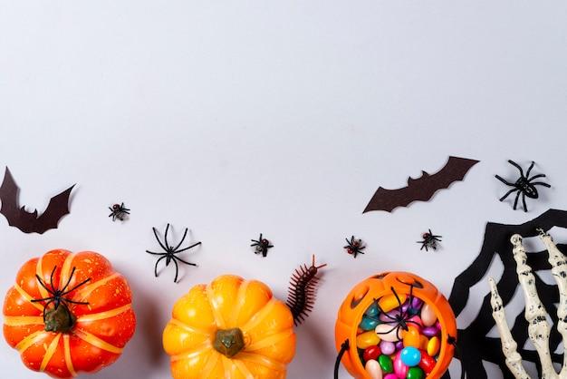 カボチャ、ウェブ、コウモリ、クモ、ムカデ、灰色のハエ。 Premium写真