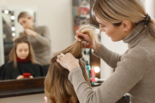 サロンでクライアントと働くプロの美容師 Premium写真