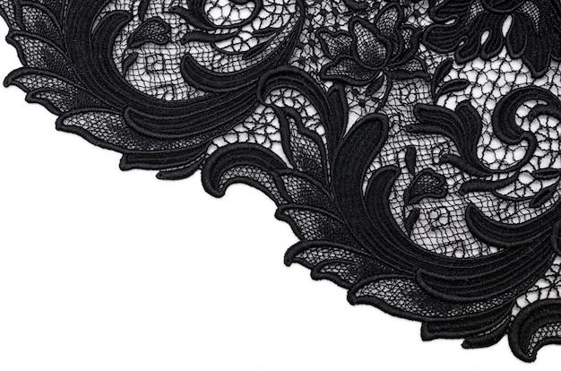 Хлопчатобумажная ткань черного кружева Premium Фотографии