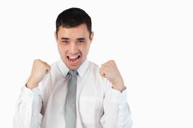 拳を持つハンサムなビジネスマン Premium写真