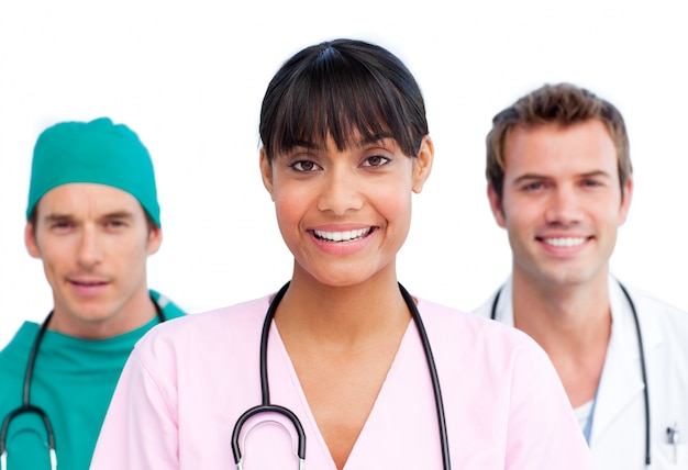 陽気な医療チームのプレゼンテーション Premium写真