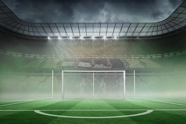 大きなスタジアムでのサッカーのピッチ Premium写真