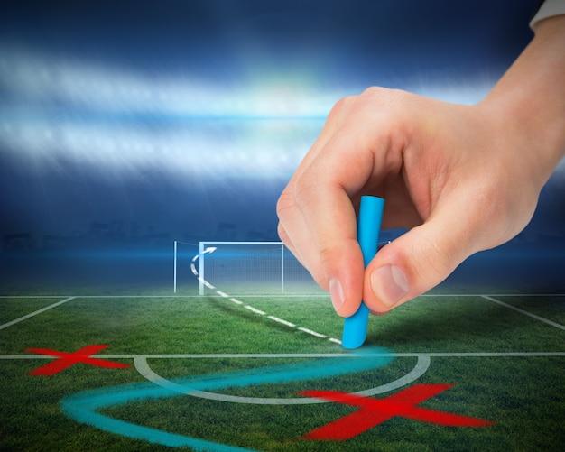 Тактика рисования рук на футбольном поле Premium Фотографии