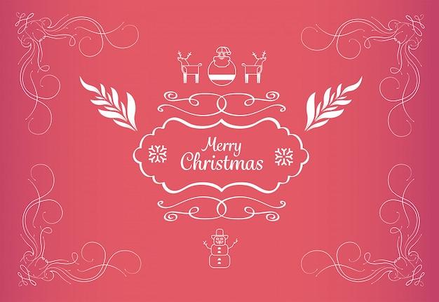 メリークリスマスメッセージベクトルイラスト Premium写真