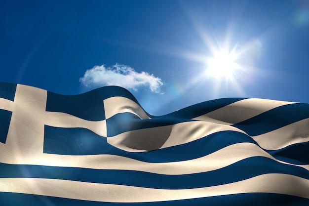 晴れた空の下でギリシャの国旗 Premium写真