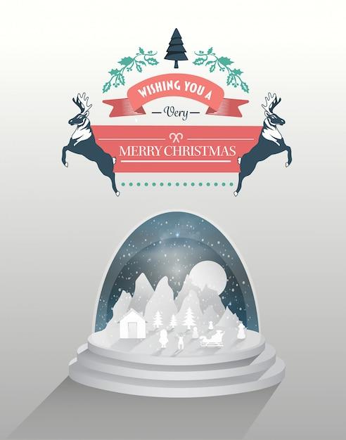 スノーグローブとメリークリスマスベクトル Premium写真