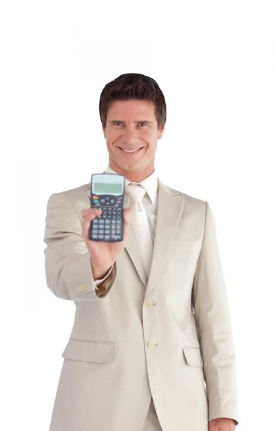 ハッピー、ビジネスマン、計算機 Premium写真