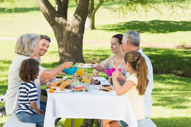 芝生で昼食を取った家族 Premium写真