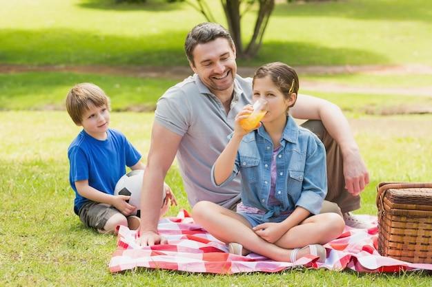 公園の子供たちと父 Premium写真