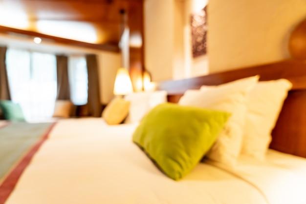 抽象的なぼかしの背景の寝室のインテリア Premium写真
