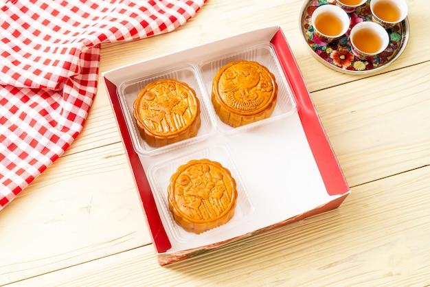 Китайский лунный пирог для китайского праздника середины осени Premium Фотографии
