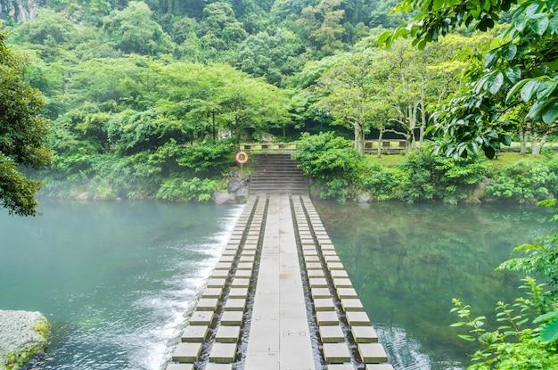 済州島の天地淵の滝庭園公園 Premium写真
