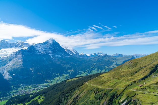 スイスのアルプス山とグリンデルワルト村 Premium写真
