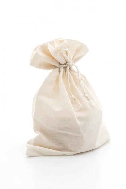 Белая тканевая сумка на белом Premium Фотографии