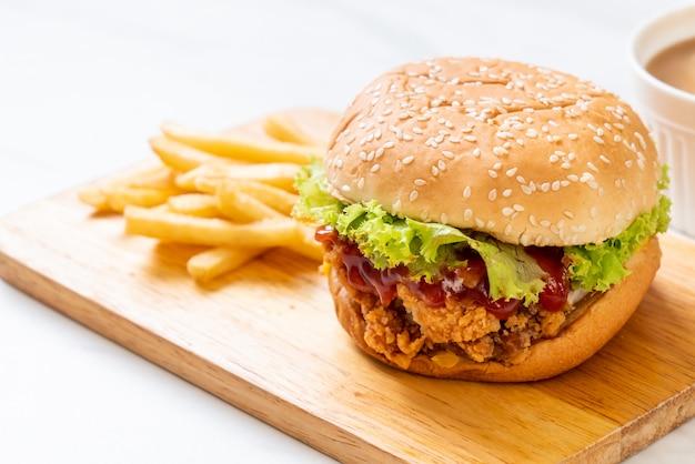 Жареный куриный бургер Premium Фотографии