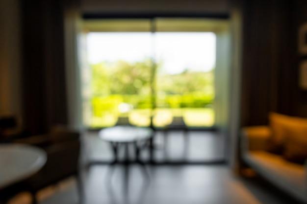 抽象的なぼかしの背景のリビングルームのインテリア Premium写真