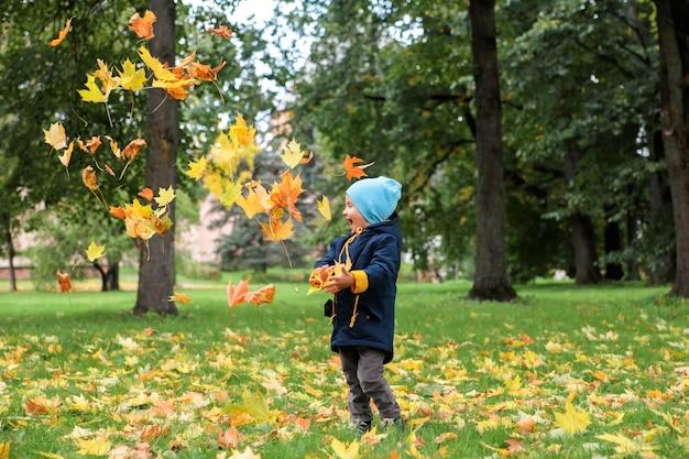 公園で秋を投げる少年を残します。 Premium写真