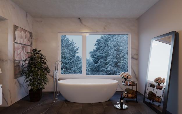自然を見渡す大きな窓のあるモダンで豪華なバスルーム。 Premium写真
