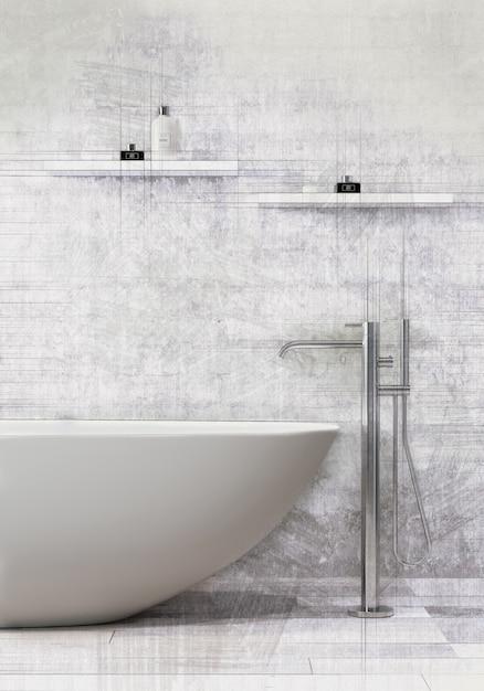 Ванна стоя с смесителем ванны в современной ванной комнате. Premium Фотографии