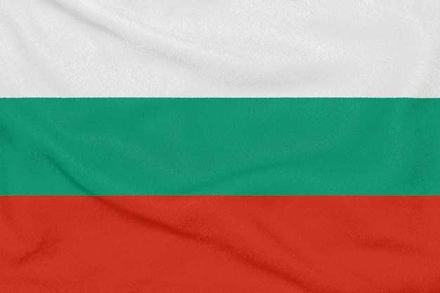 テクスチャ生地にブルガリアの旗 Premium写真