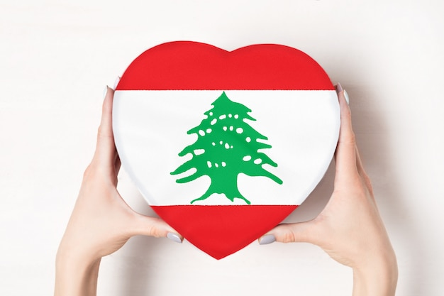女性の手でハート型ボックスにレバノンの旗 Premium写真