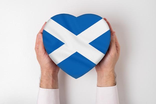 男性の手でハート型のボックスにスコットランドの旗。白色の背景 Premium写真