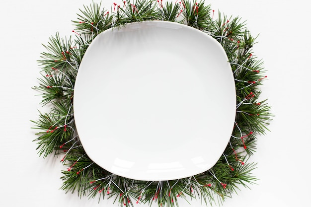 Рождество пустое блюдо фон Premium Фотографии