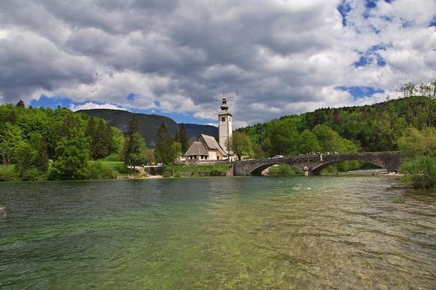 スロベニア、トリグラヴ国立公園、ボーヒニ湖のリベセフラズ Premium写真